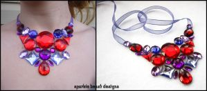 Red and Purple Bib Necklace by Natalie526