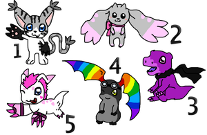 Digimon variation adotables / CLOSED by Phewmonster