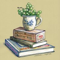 Tea, grapes and a good book by dh6art