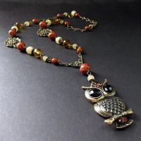 Fossil and Jade Owl Necklace by Gilliauna