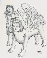 Lionhorse and sphinx XCIX for Anigraphia by guelpacq