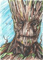 Gaurdians of the Galaxy: Groot Sketch Card by Graymalkin2112