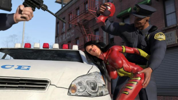 Spider-Woman vs Two Cops 11 by DahriAlGhul