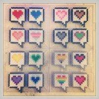 8bit perler hearts by soldierofsolace