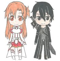 Asuna y Kirito chibi v.2 by Hahc3Shadow