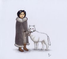 Jon Snow and Ghost by NurseRozetta95