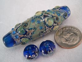 Space Paisley art glass bead by SPIglassStudio