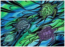 Sea Turtles Abstract by raptarrin