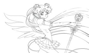 Eternal Sailor Moon - lineart by Dark-elfa