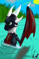 Cynder in the lake by WingedWilly