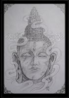 Stone buddha head 2011 by Ash-Harrison