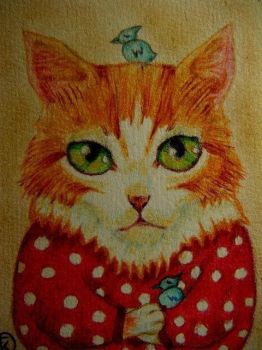 ACEO - Cat with birds by Edward-Raphael