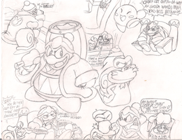Unfinished Dedede and Escargoon sketch by Geibuchan