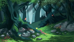 Forest concept art by Riverlimzhichuan