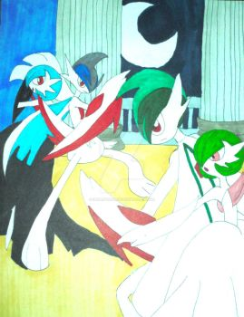 Battle of the Mega: Gardevoir and Gallade by InkArtWriter