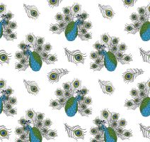 Colored peacock seamless background vector by FreeIconsdownload
