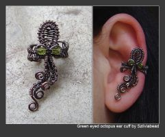 Green eyed octopus ear cuff by bodaszilvia