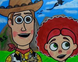 Woody and Jessie Buzz Flying by sampson1721