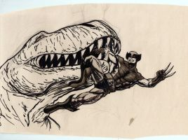 wolverine vs trex by Bleagh