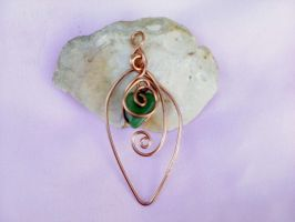 Green aventurin and copper pendant by Mirtus63