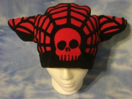Red Black Kitty Spider Web Hat by HatcoreHats