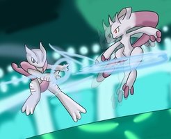 Mega Mewtwo X vs Y ~Art Trade~ by Xero-J