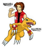 Masaru and Agumon by Pink-Shimmer