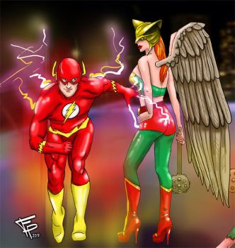 The Flash and Hawk Girls 1st Tickle by Fantasy-Play