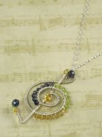 Iolite, Peridot Citrine G Clef by AniqueDesigns