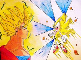 Super Saiyan Goku 2 Vs Super Sonic by DarkGamer2011