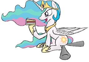 Celestia And Cake [trade] by ThunderElemental