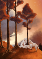 three white Wolves by Chrystal-Art