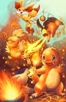Fire starters with fennekin by michellescribbles
