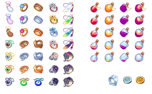 Items. Ring, amulets and potions by Mangust-art