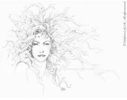 The red hair dryad - BW by delfee
