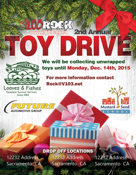 V103 Toy Drive Flyer by fireproofgfx