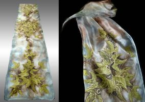 Leaves of Lorien - handpainted silk scarf by jankolas