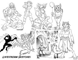 Livestream Sketches 1 by lady-cybercat