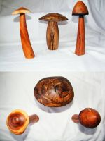Wooden Mushrooms by tree-gypsy