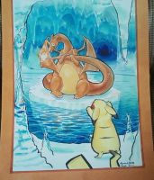 Charizard and Pikachu Commission by karookachoo
