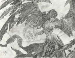 League Of Legends' Morgana Pencil Drawing by SerenityStyles