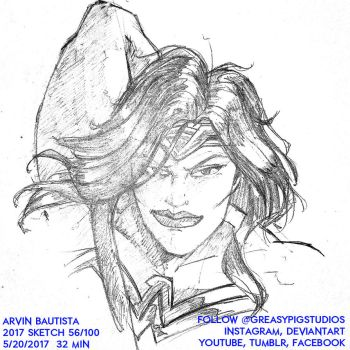 Arvin Bautista Sketches 2017 56/100: Wonder Woman by greasypigstudios