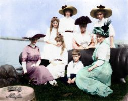 OTMAA with relatives in Peterhof ~ colored photo by natsafan