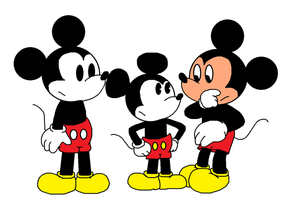 Three incarnations of Mickey meeting each other by ElMarcosLuckydel96