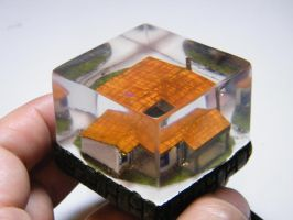 micro farm house embedded in clear resin with leds by dederezende