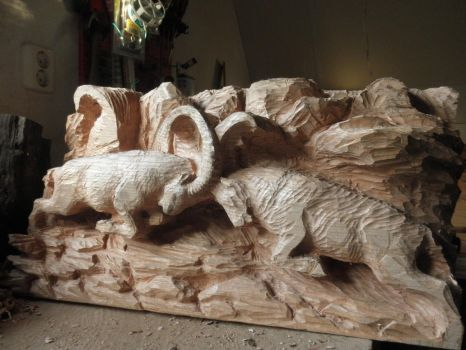 Alpine ibex in progress 7 by woodcarve