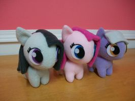 Pie Sister Trio Chibi Pony Plush by happybunny86