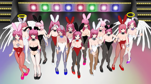 Pink Haired Bunnys by quamp