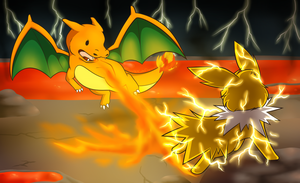 Commission - Fire VS Thunder by FlareAKACuteFlareon