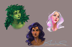 Nhymue, Maelerys, and Zora by ancalinar